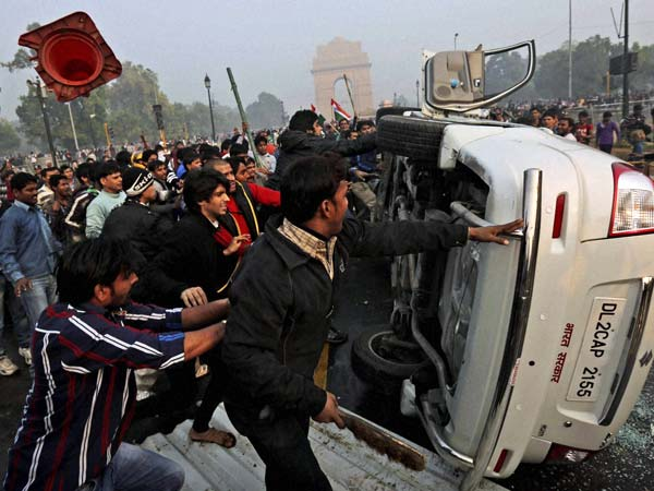 People Damage a government vehicle