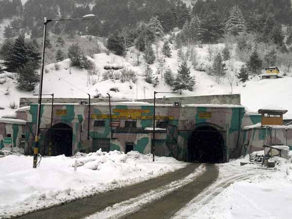 A view of snow covered Pir Panjal tunnel