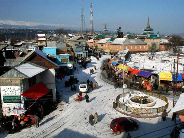 An aerial view of Shopian town