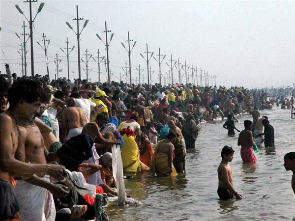 Devotees taking Holy Dip