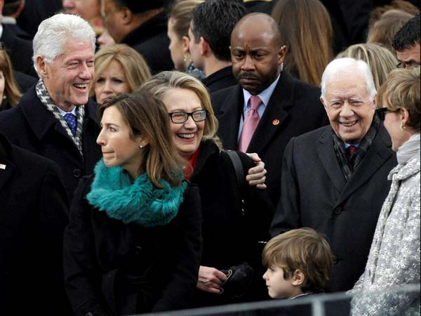 Secretary of State Hillary Clinton and former President Bill Clinton