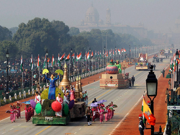 Tableaus on display at Rajpath