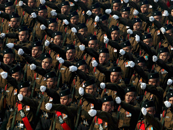 Soldiers march during  for the Republic Day Parade