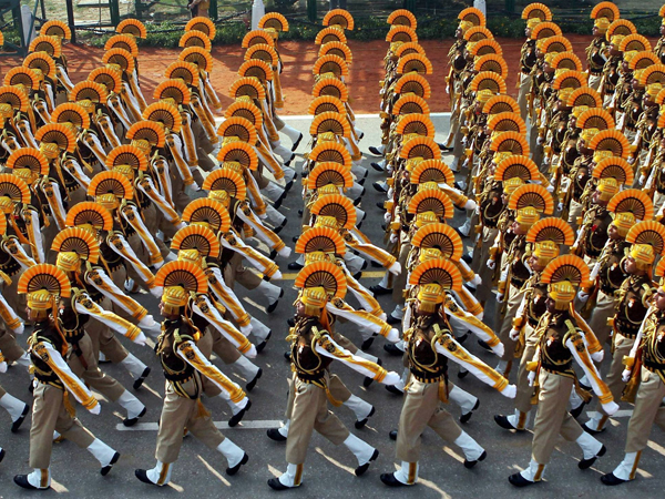 Soldiers march  for the Republic Day Parade