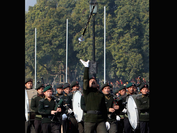 Army bandsmen rehearse for the Republic Day parade