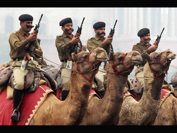 Camel-mounted BSF soldiers