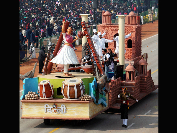 Delhi tableau on display for the Republic Day Parade 2013