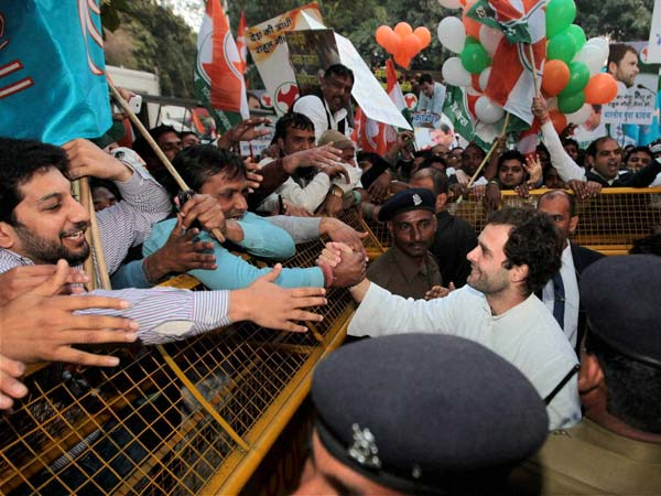 Rahul Gandhi greets people