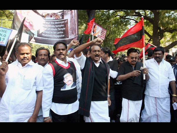 MDMK leader Vaiko along with party workers