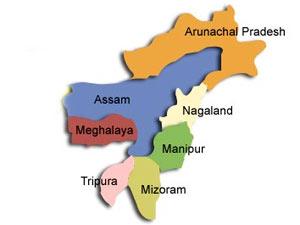 Mizoram in North-East India map
