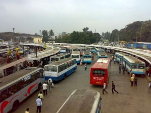 Buses ply in Bangalore