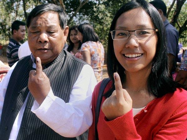 Sangma with his daughter Agatha Sangma
