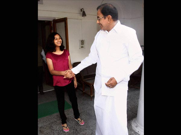 Budget: Grand daughter greets Chidambaram
