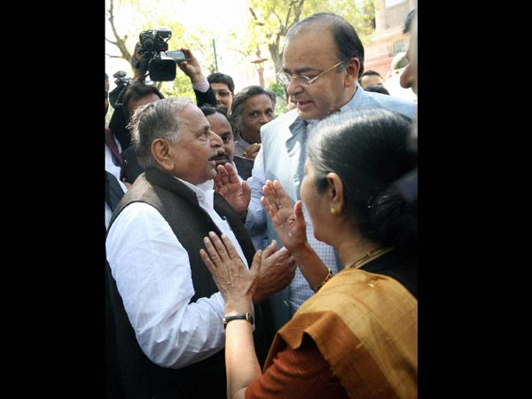 BJP leaders with Mulayam during Budget session