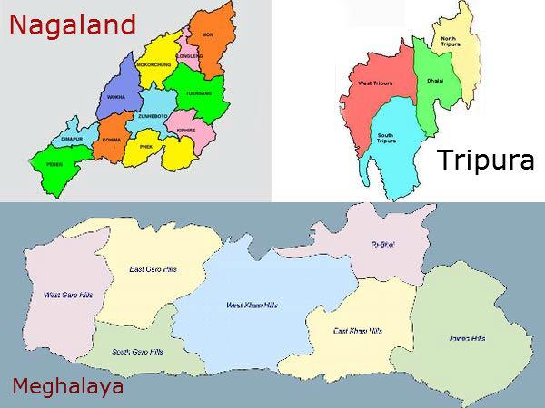 Nagaland, Tripura and Meghalaya