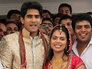 Vijender Singh with wife