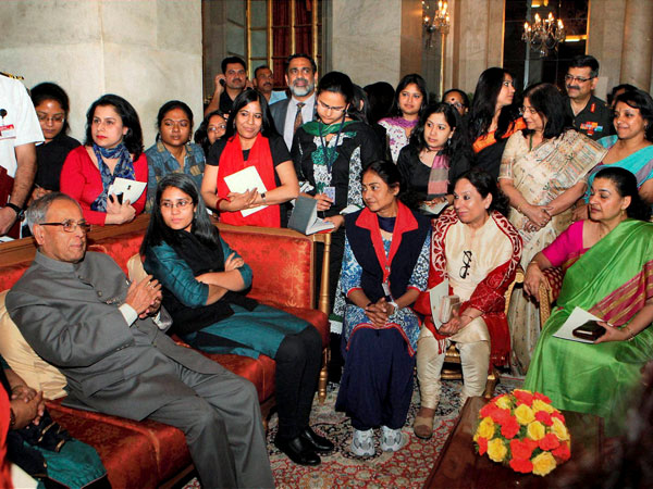 President interacts with women