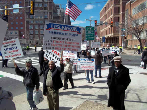 Americans march against Wharton India Economic Forum