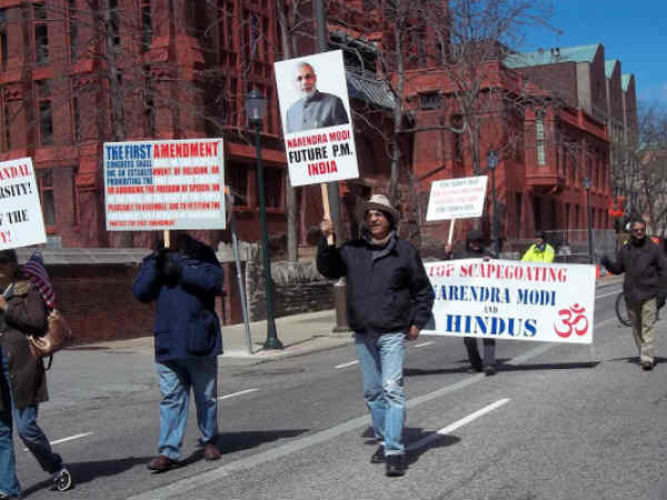March in New York against the Wharton India Economic Forum