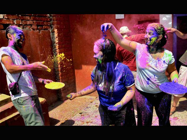 Foreigners enjoy Festival of Colours
