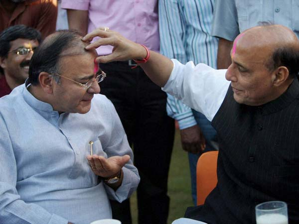 Rajnath Singh with Arun Jaitley during Holi