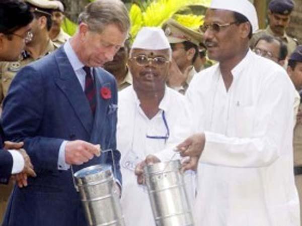 Prince Charles with Dabbawalas
