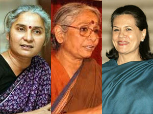 medha patkar, aruna roy and sonia gandhi