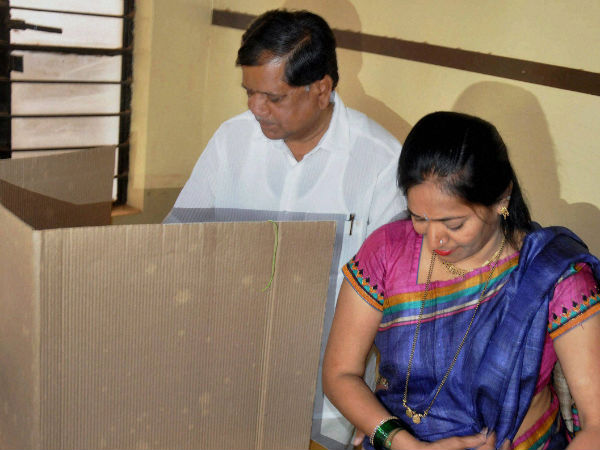 The CM votes along with his wife