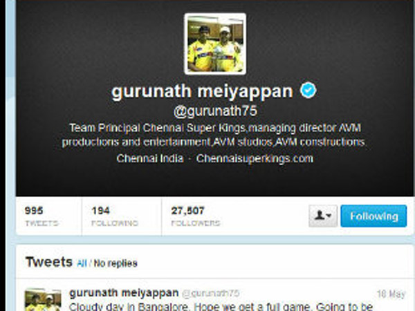 Gurnath's Twitter Page before Indian Cements' Statement