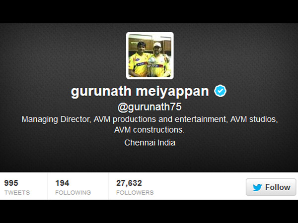 Gurunath's Twitter Page after India Cements' Statement