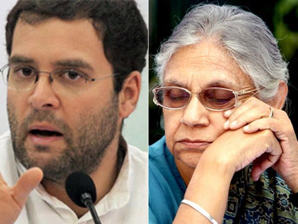 Rahul Gandhi and Sheila Dikshit