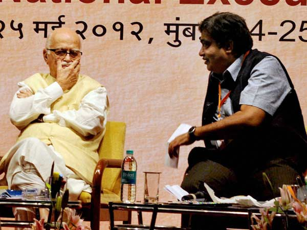 Advani with Gadkari
