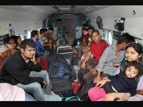 Stranded people being rescued by Indian Air Force