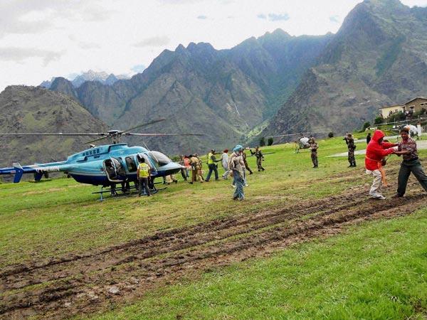 Chopper during rescue work