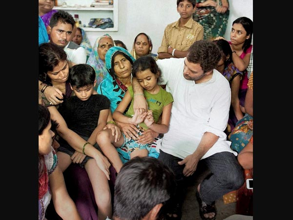 Rahul Gandhi meeting the family of Indian Air Force