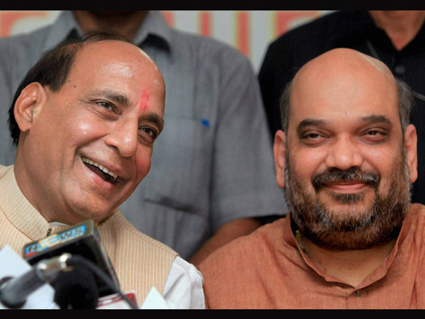 With party president  Rajnath Singh