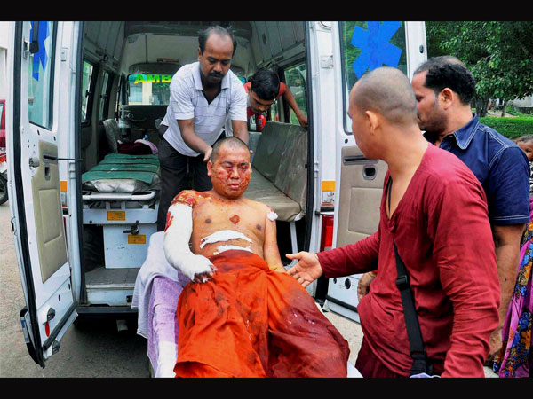 A Buddhist monk injured in the blast
