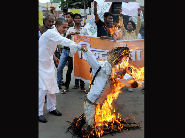 Vishwa Hindu Parishad members burn effigy of terrorists