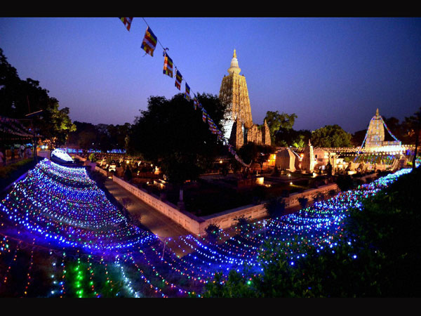 A view of illuminated Mahabodhi Temple