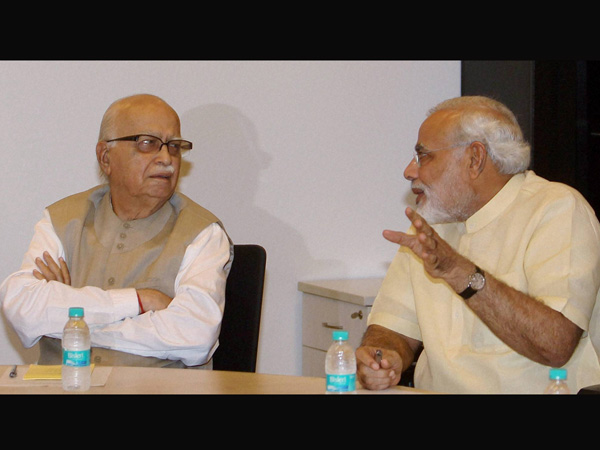 Advani and Modi at the previous Parliamentary Board meeting