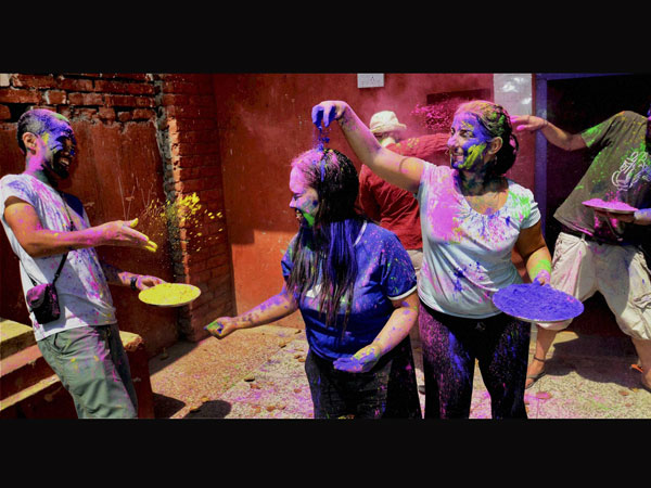 Foreigners celebrate Holi at Bodh Gaya
