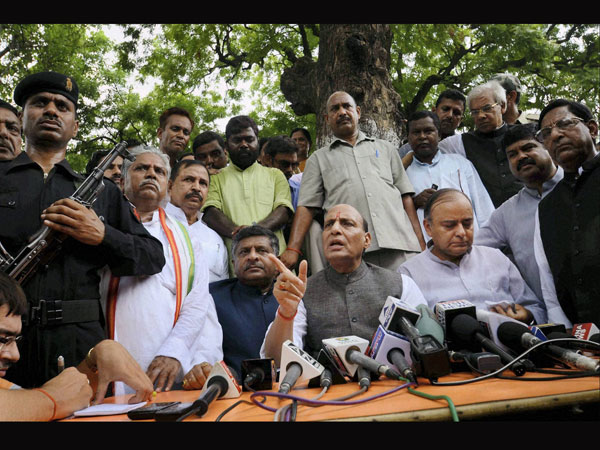 BJP President Rajnath Singh along with senior party leaders
