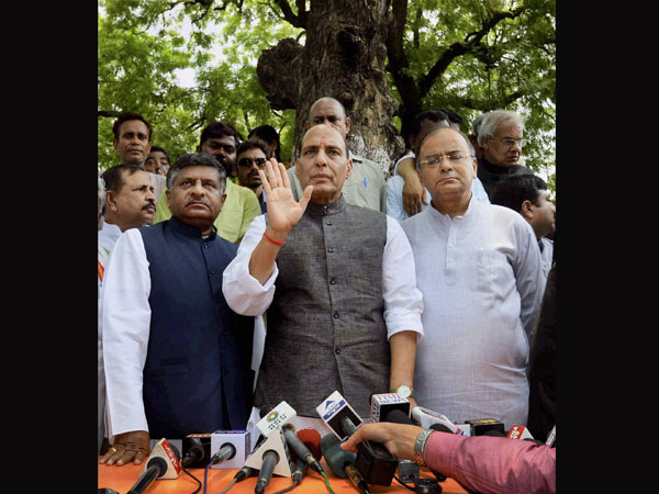 BJP President Rajnath Singh along with party leaders