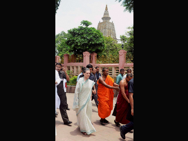 Sonia Gandhi during a visit to the Mahabodhi Temple