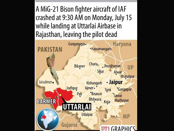 MiG-21 crashes in Rajasthan, pilot dead
