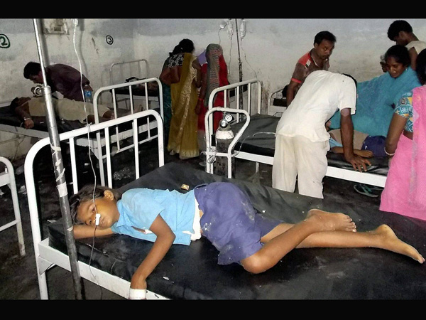 School children being treated at a hospital
