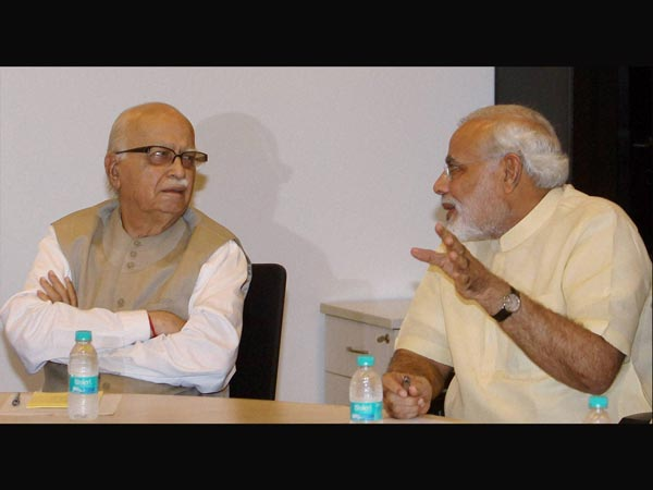 L K Advani with Narendra Modi during party Parliamentary Board Meeting