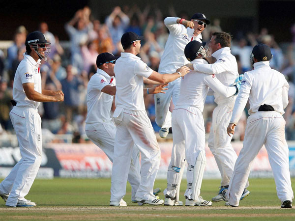 England cricketers celebrate after crushing Australia at the Lord's