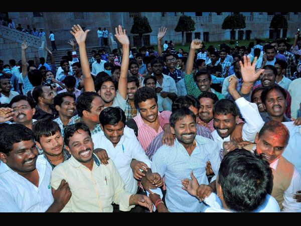 Telangana supporters celebrate in Hyderabad