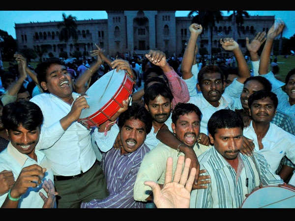 Celebrations in Hyderabad for separate Telangana